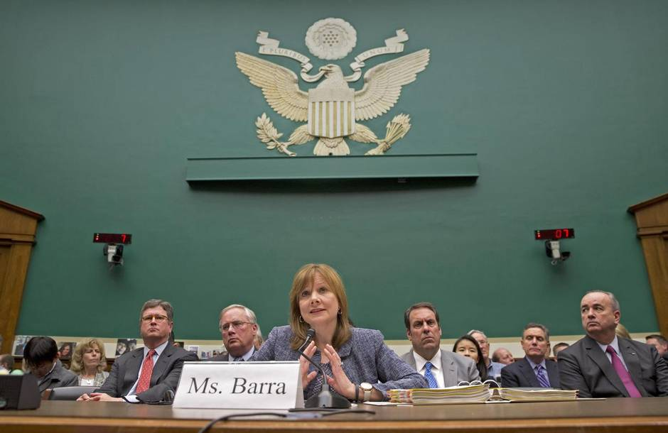 General Motors CEO Mary Barra speaking to Congress